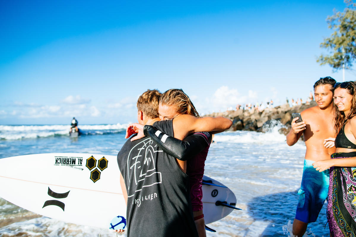 Lakey Peterson of USA after winning the Roxy Pro, Gold Coast, 2018.
