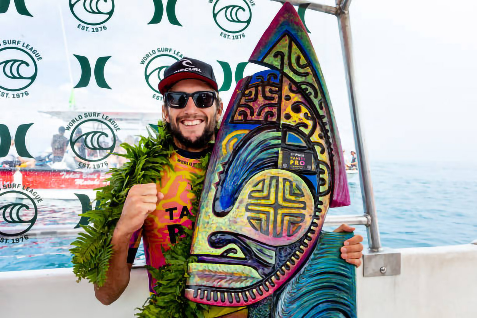 TEAHUPO'O, TAHITI - AUGUST 28: Owen Wright of Australia wins the 2019 Tahiti Pro Teahupo'o after winning the final at Teahupo'o on August 28, 2019 in Tahiti, Franch Polynesia. (Photo by Matt Dunbar/WSL via Getty Images)